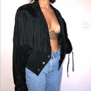 Vintage 80's Wilsons leather fringe suede jacket